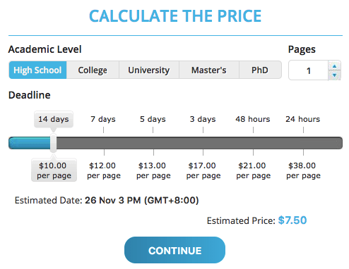 Essay One Day Pricing